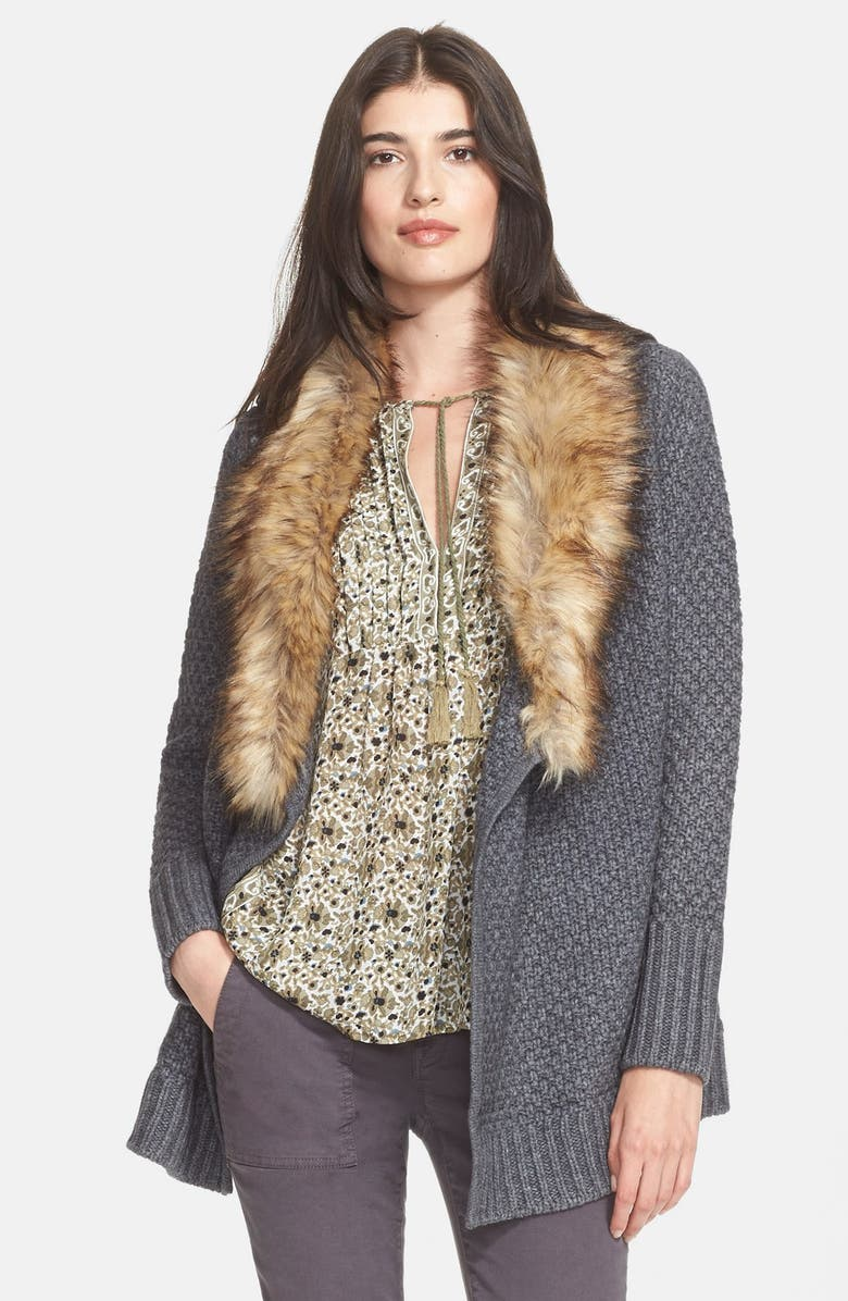 JOIE 'Jamilee C' Faux Fur Collar Wool Cardigan, Main, color, 073