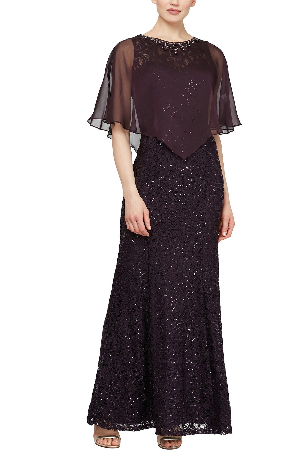 Image of Ignite Sequin Lace Dress with Chiffon Cape