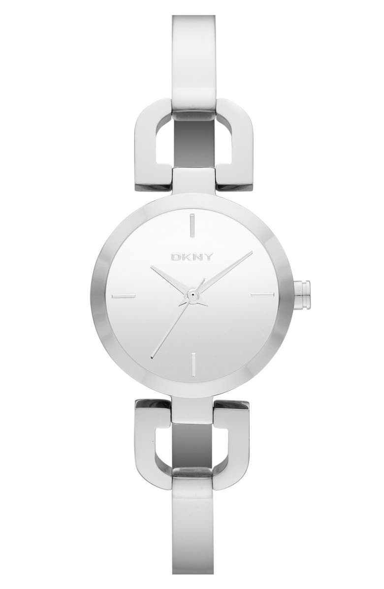 DKNY 'Reade' Round D-Link Half Bangle Watch, 24mm, Main, color, 040