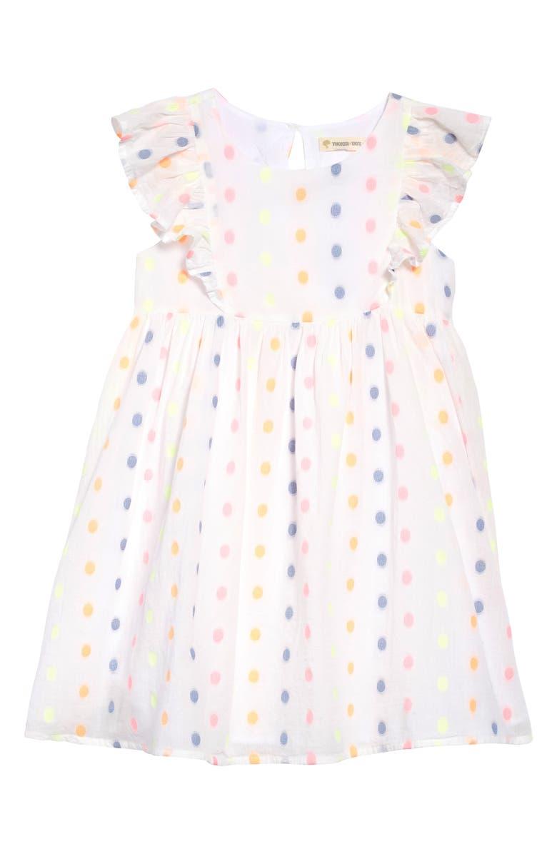 TUCKER + TATE Ruffle Dot Dress, Main, color, WHITE MULTI DOT