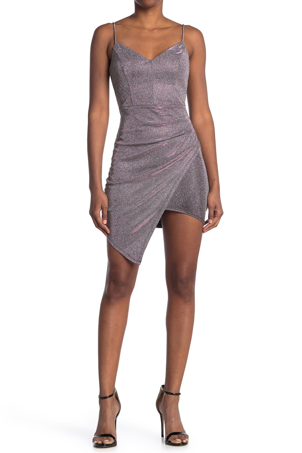 Image of Love, Nickie Lew Shimmer V-Neck Ruched Asymmetrical Bodycon Dress