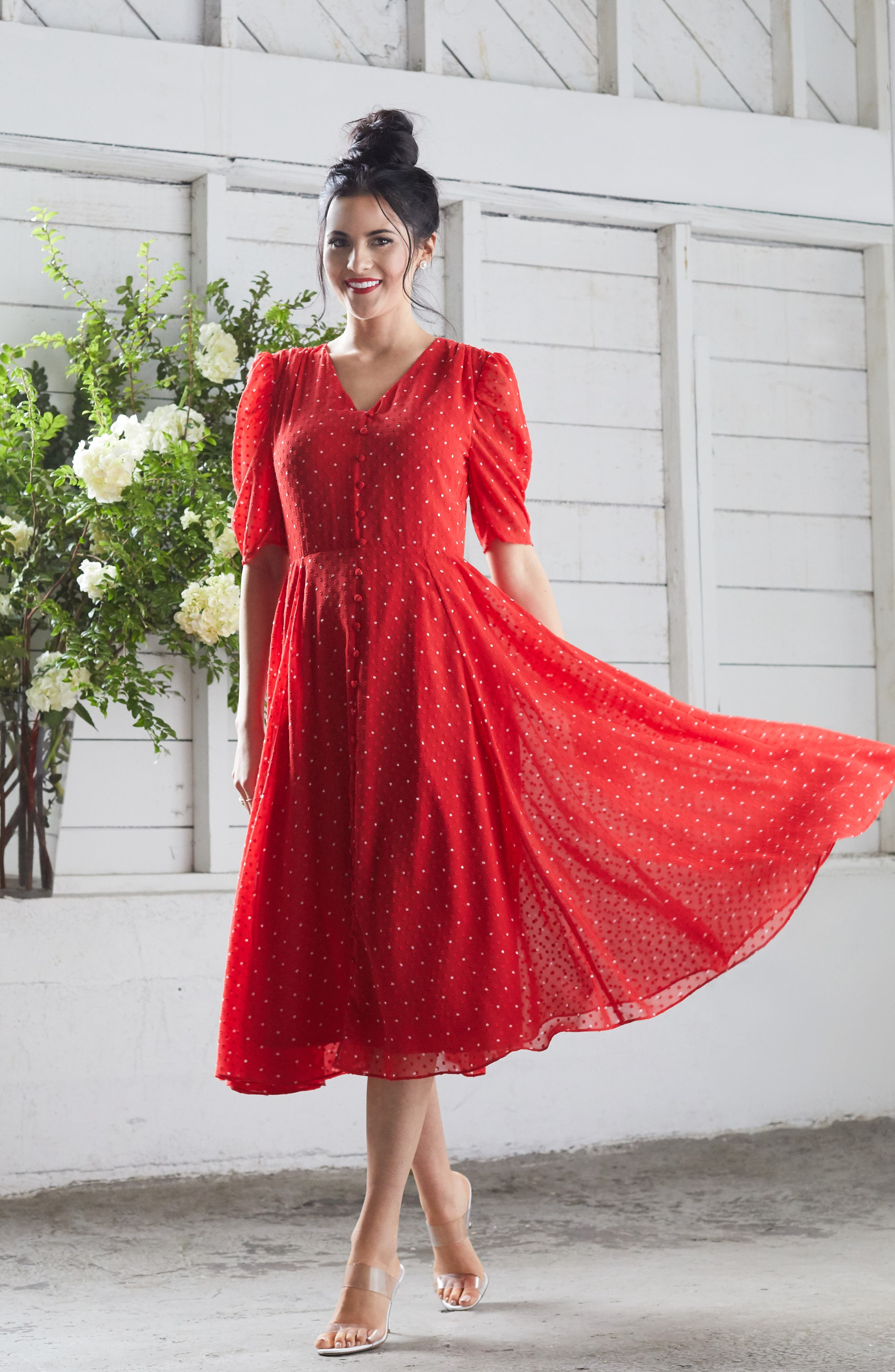 ,                             Chiffon A-Line Dress,                             Alternate thumbnail 9, color,                             RED CHINOISE DOT