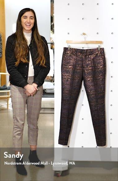 Gascon Skinny Fit Metallic Jacquard Pants, sales video thumbnail
