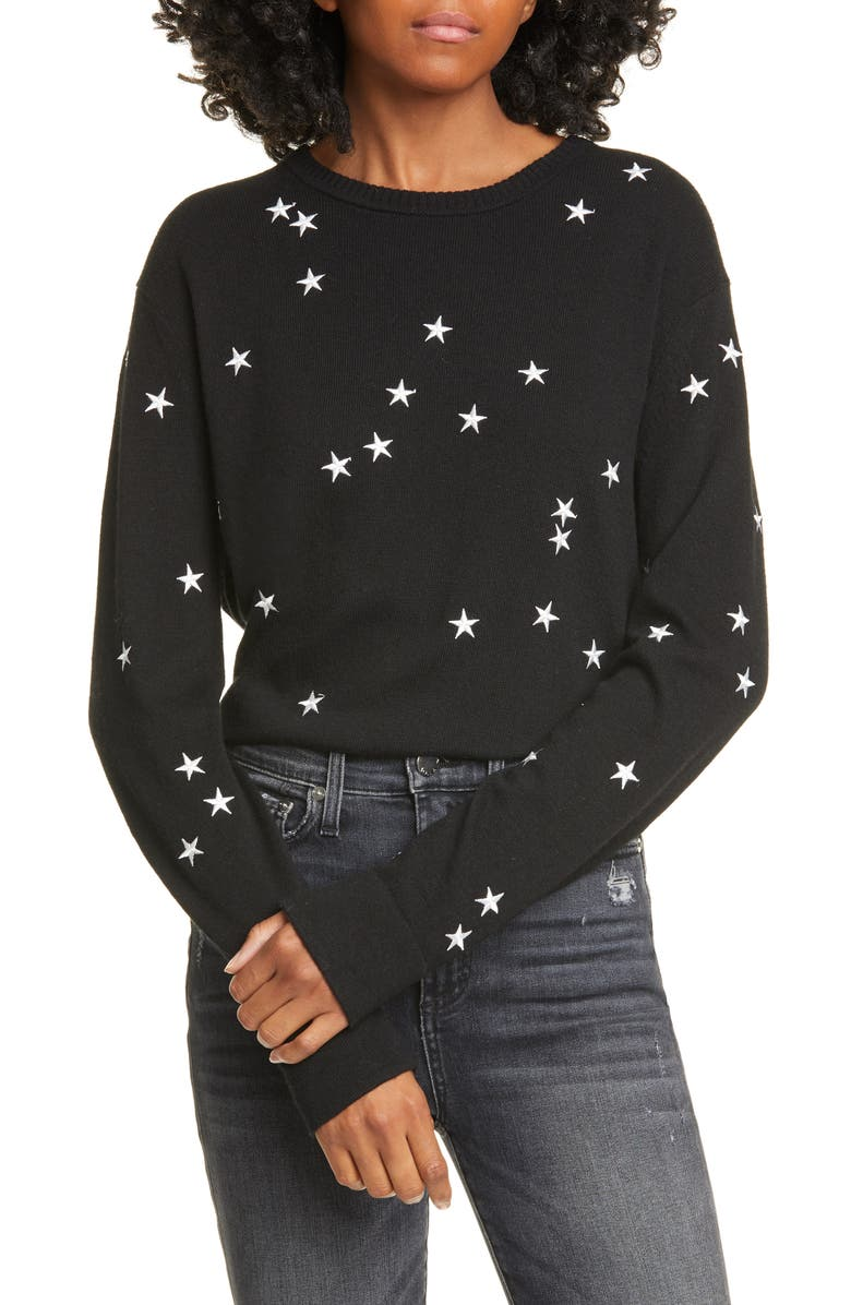 EQUIPMENT Nartelle Embroidered Star Sweater, Main, color, TRUEBLACK