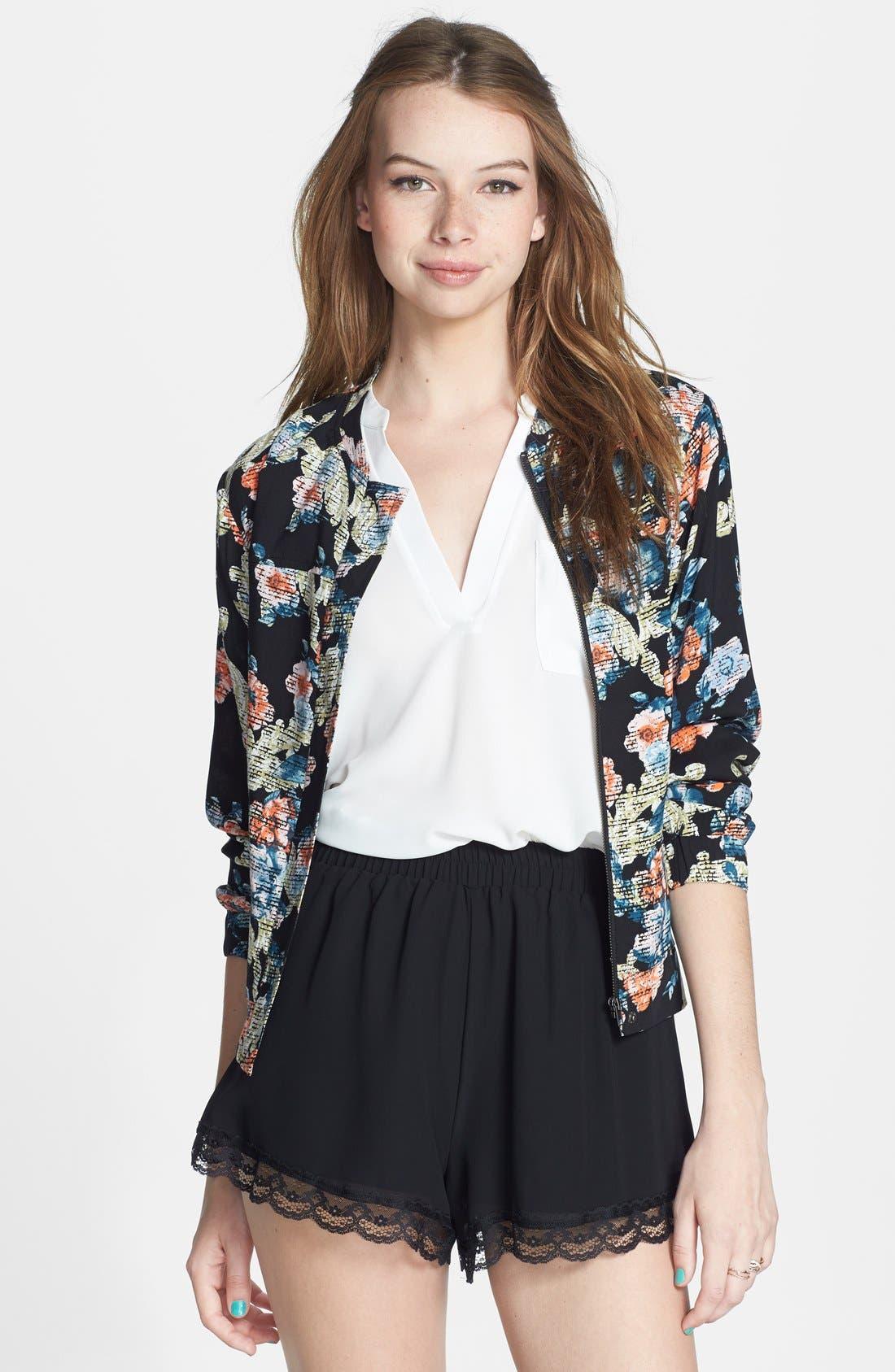 ,                             Lace Trim Floral Print Shorts,                             Main thumbnail 7, color,                             003