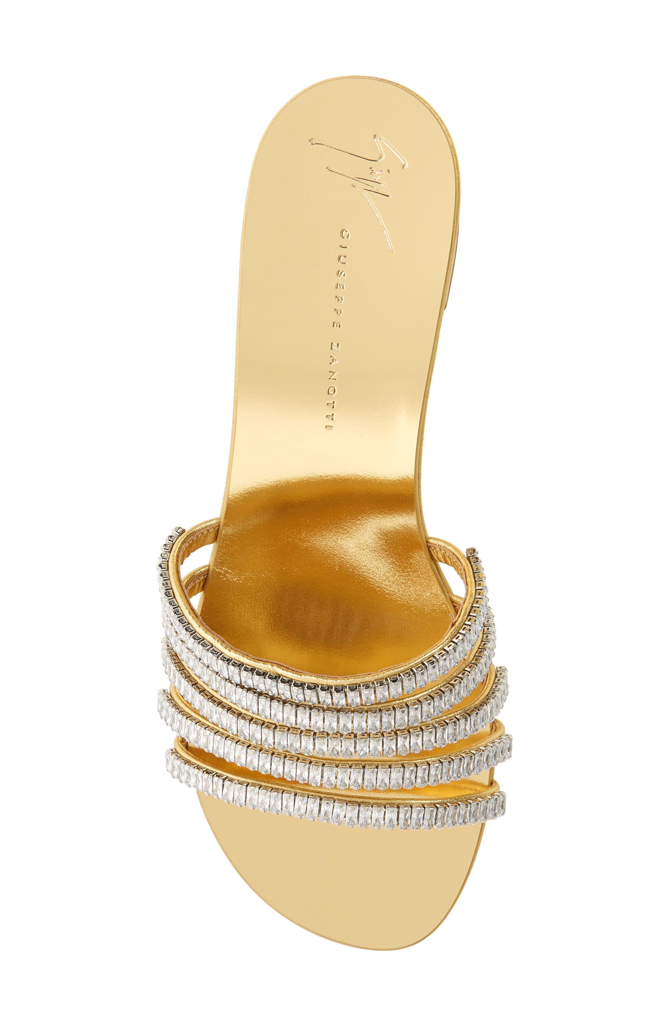 ,                             Crystal Embellished Slide Sandal,                             Alternate thumbnail 5, color,                             GOLD