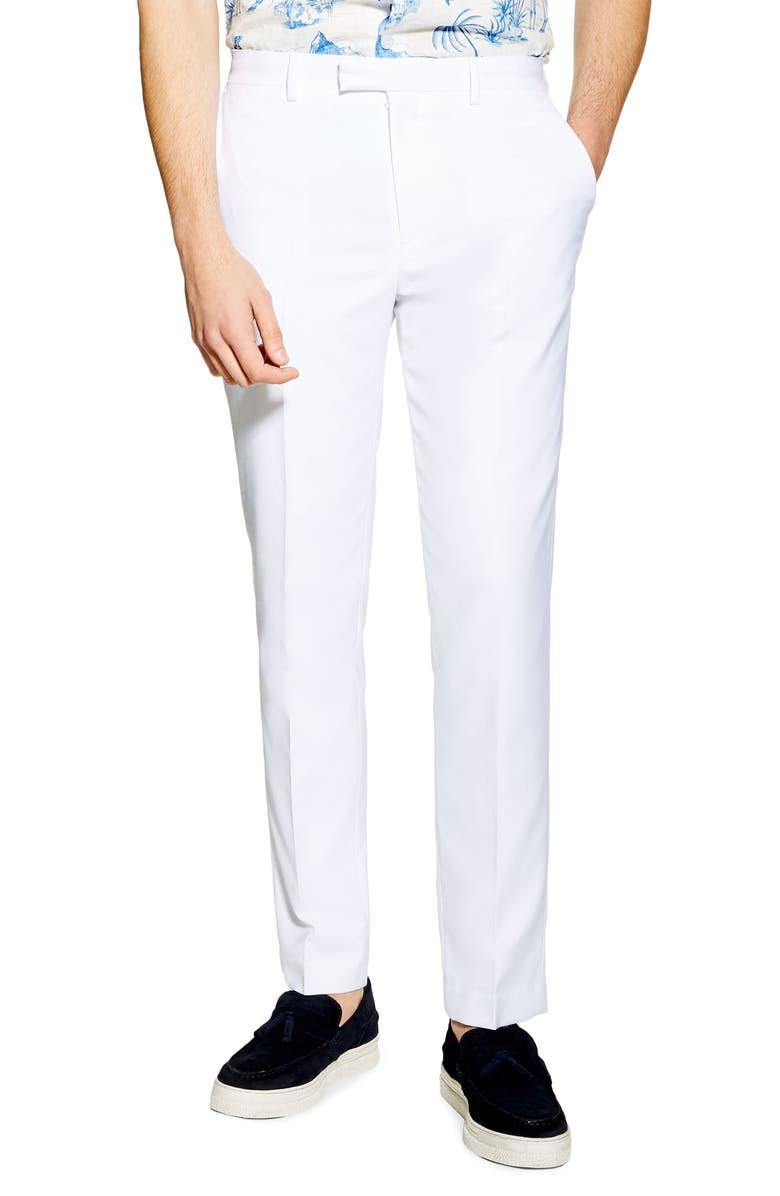 TOPMAN Slim Fit Suit Dress Pants, Main, color, WHITE