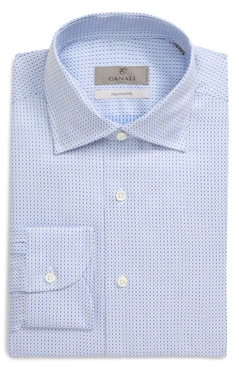 CANALI Slim Fit Print Dress Shirt, Main, color, BLUE