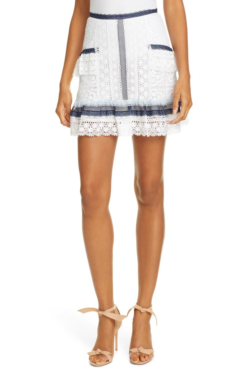 LOVE SAM Scarlet Lace Miniskirt, Main, color, WHITE LACE MULTI