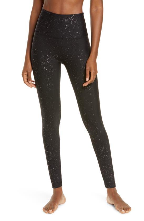 Beyond Yoga Alloy Sparkle High Waist Ankle Leggings In Black Gunmetal Speckle