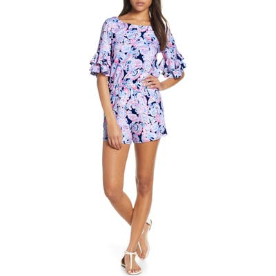 Lilly Pulitzer Lula Ruffle Sleeve Romper, Blue