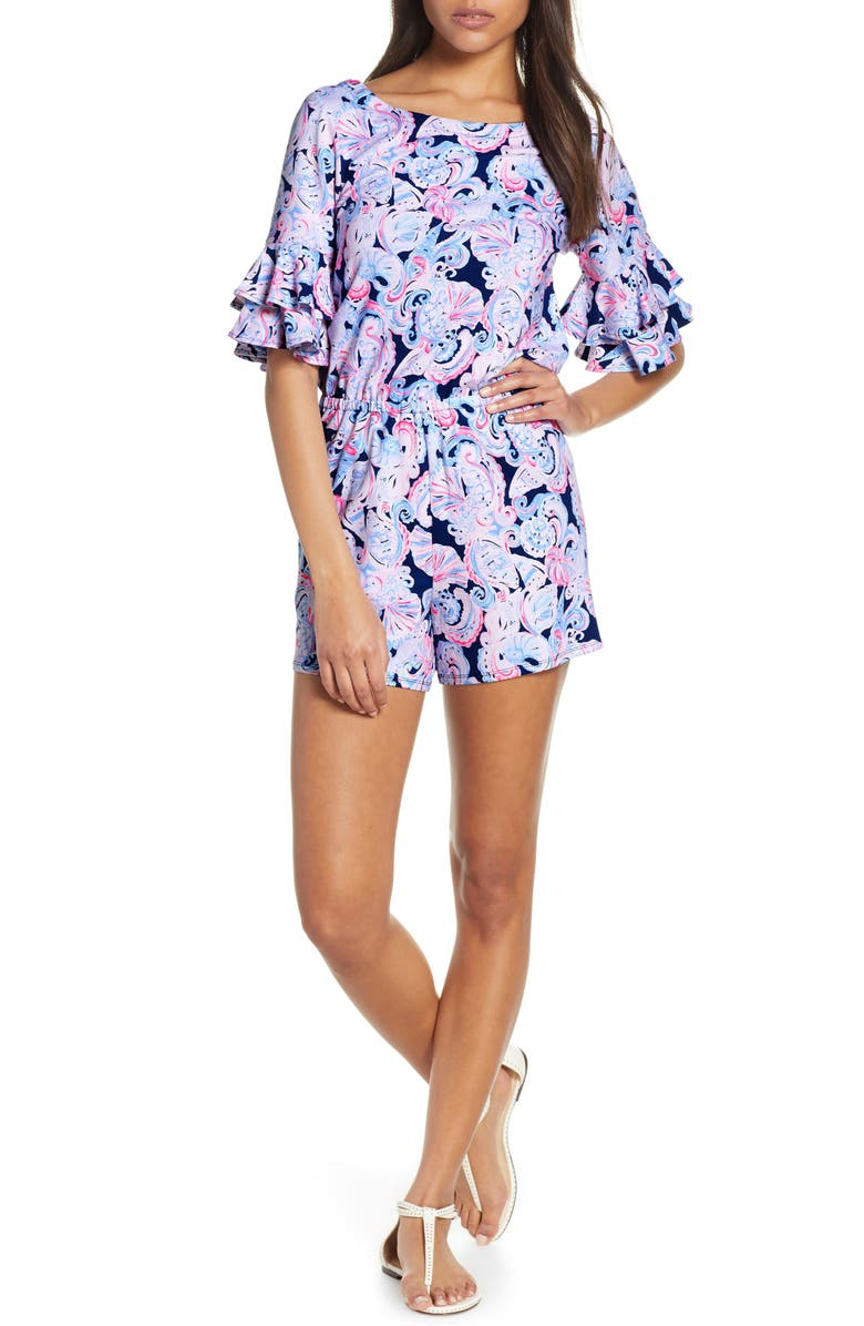 LILLY PULITZER<SUP>®</SUP> Lula Ruffle Sleeve Romper, Main, color, 434