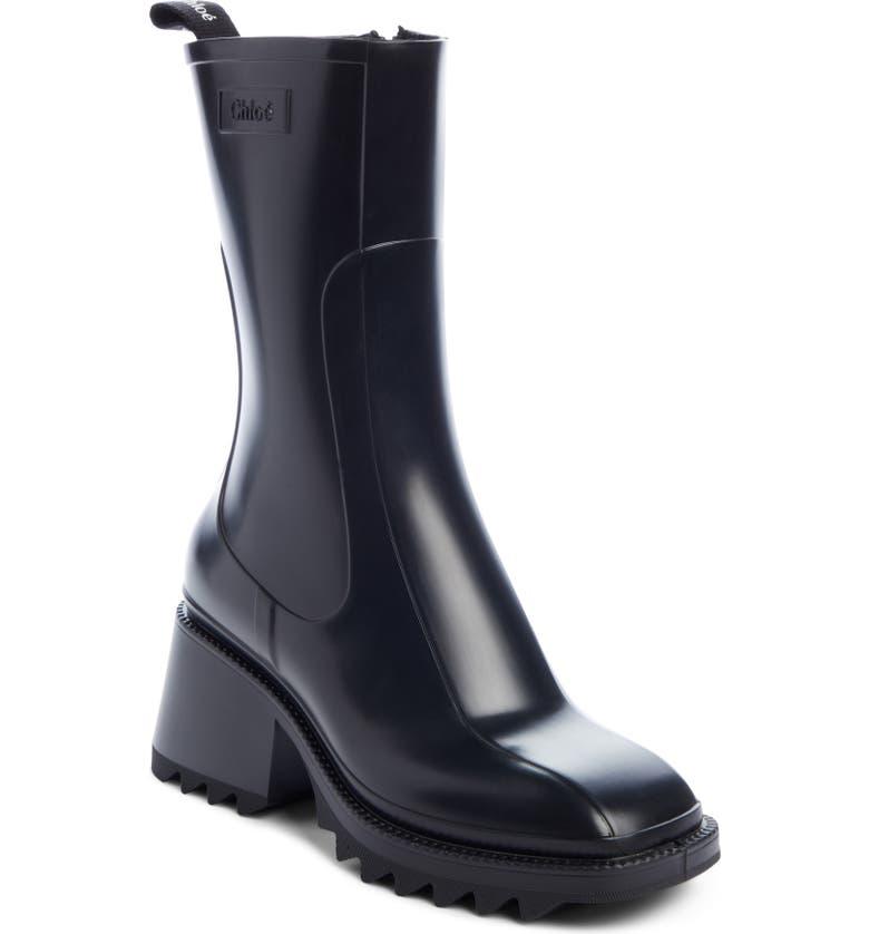 CHLOÉ Betty Rain Boot, Main, color, BLACK