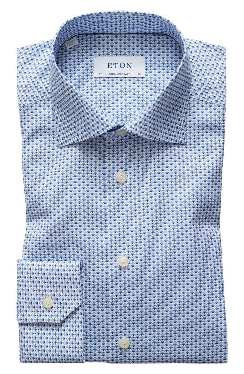 ETON Contemporary Fit Floral Dress Shirt, Main, color, BLUE