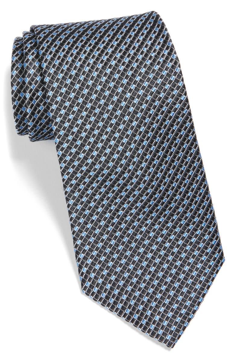 NORDSTROM MEN'S SHOP Check Silk Tie, Main, color, BLACK