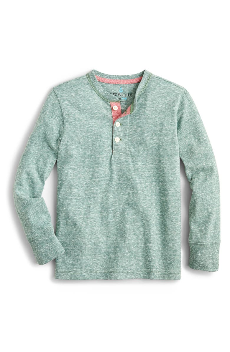CREWCUTS BY J.CREW Heathered Long Sleeve Henley, Main, color, OLD FOREST