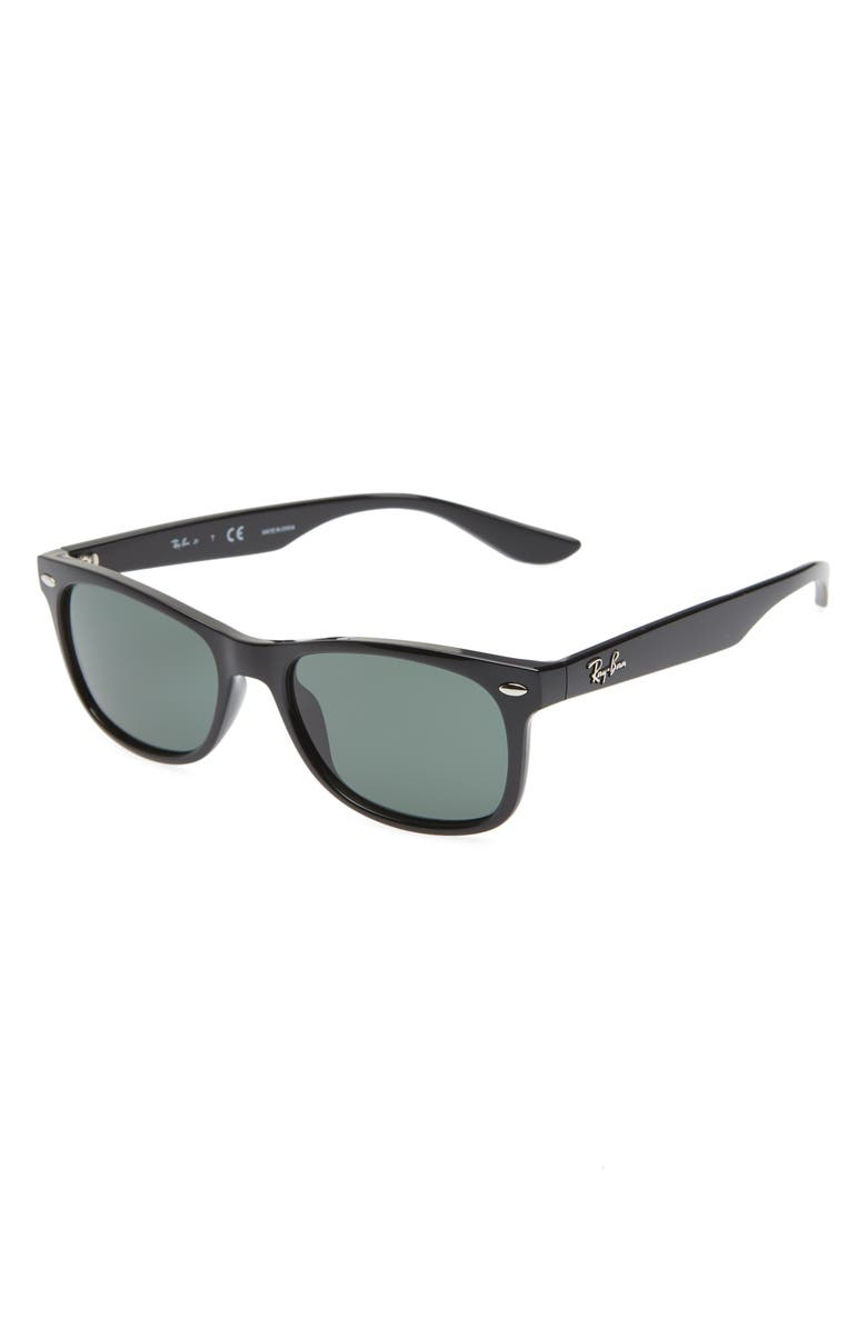 RAY-BAN Junior 48mm Wayfarer Sunglasses, Main, color, BLACK/ GREEN SOLID