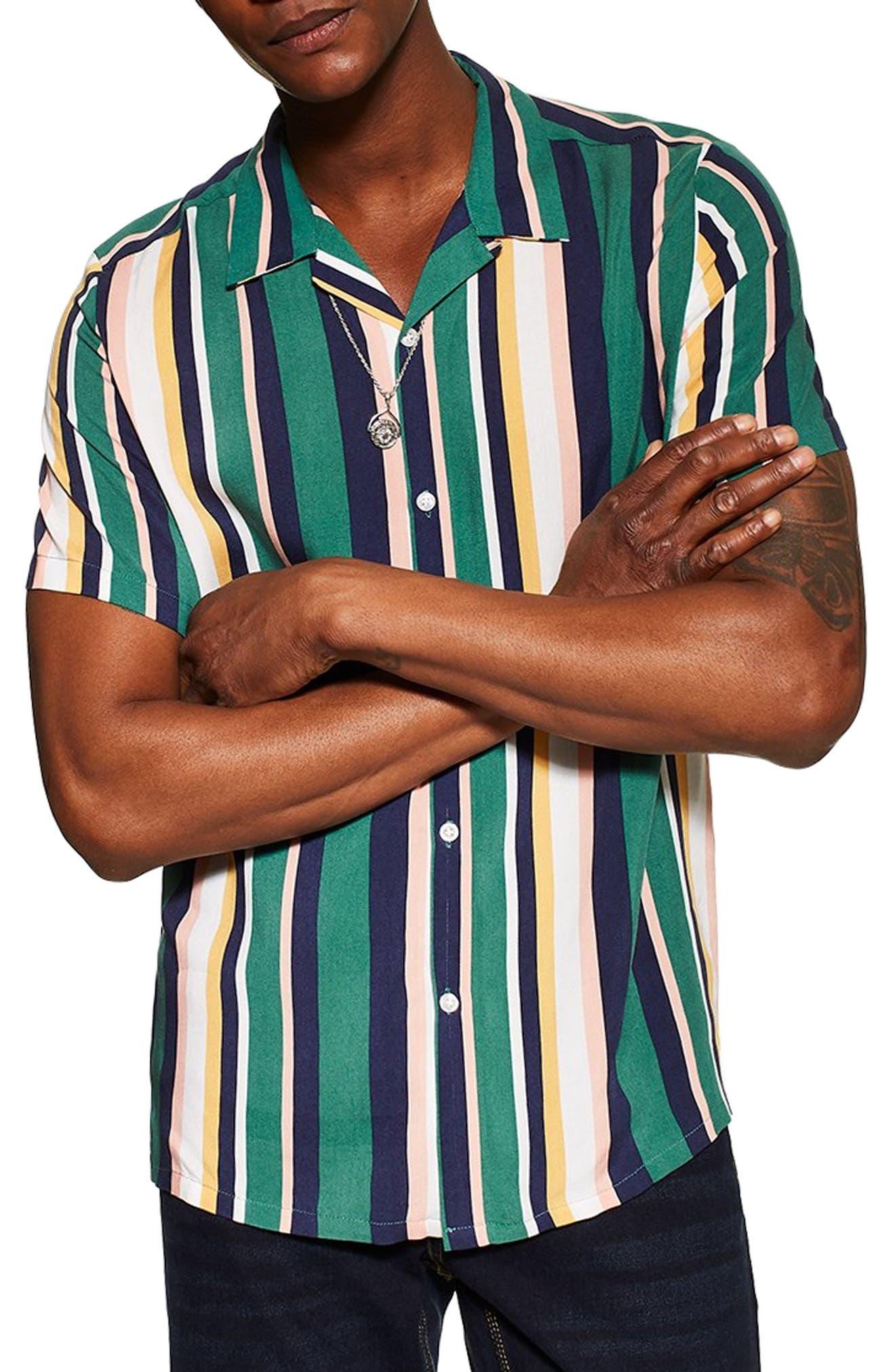 Stripe Camp Shirt, Main, color, 340