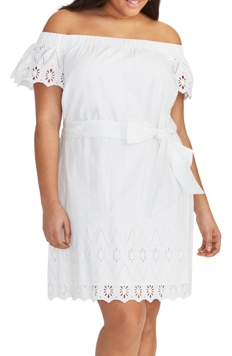 RACHEL RACHEL ROY Ilenia Off the Shoulder Sundress, Main, color, WHITE WASH