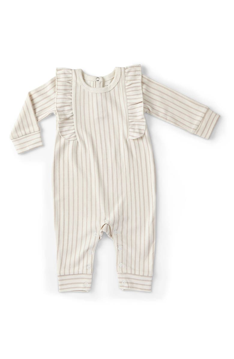 PEHR Stripes Away Ruffle Organic Cotton Romper, Main, color, 660