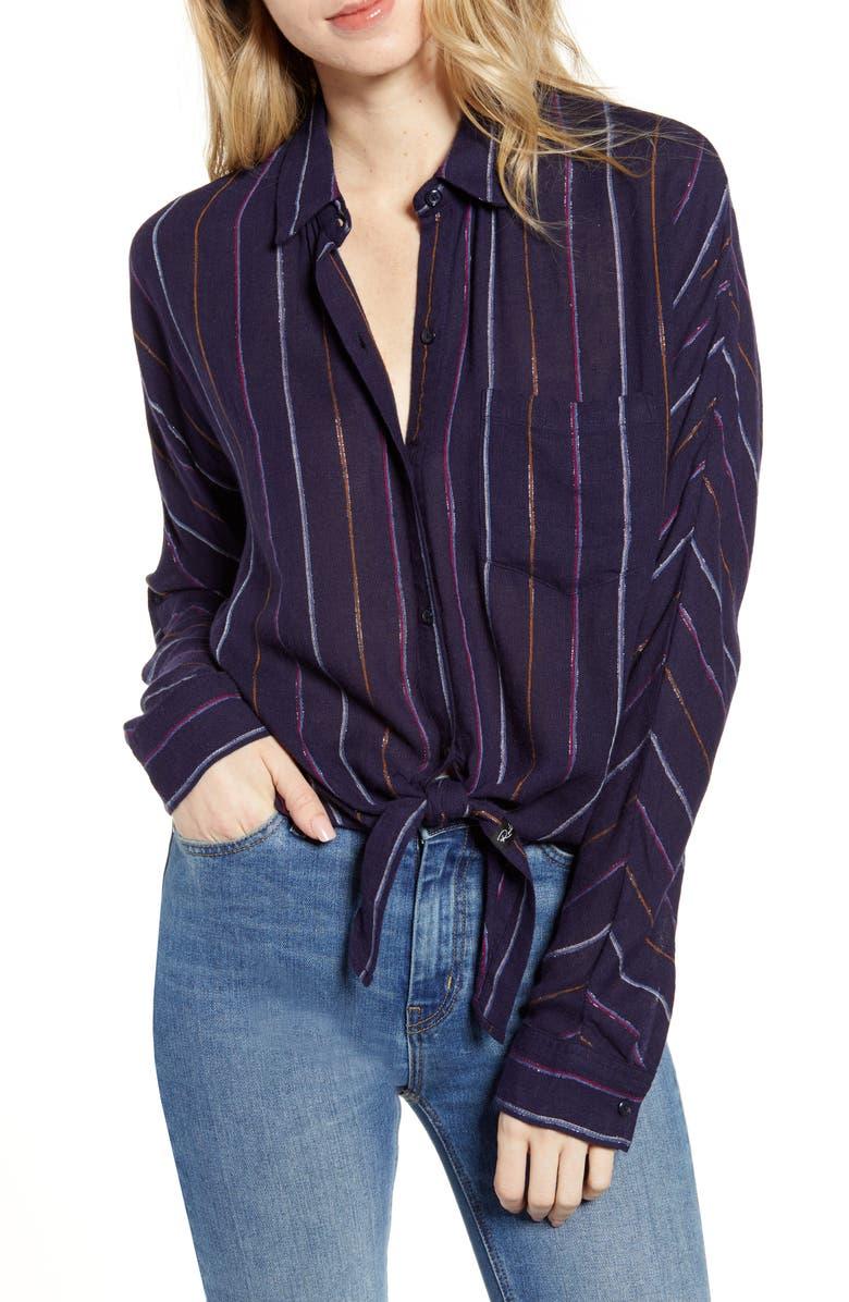 RAILS Rylan Stripe Tie Front Shirt, Main, color, SANTIAGO STRIPE