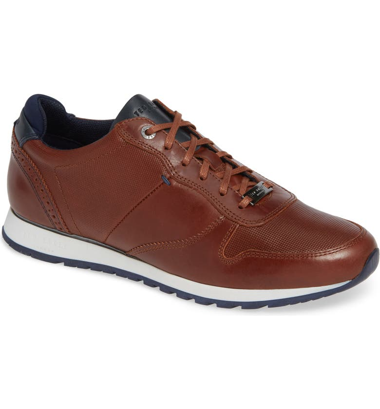 TED BAKER LONDON Shindl Sneaker, Main, color, DARK TAN LEATHER