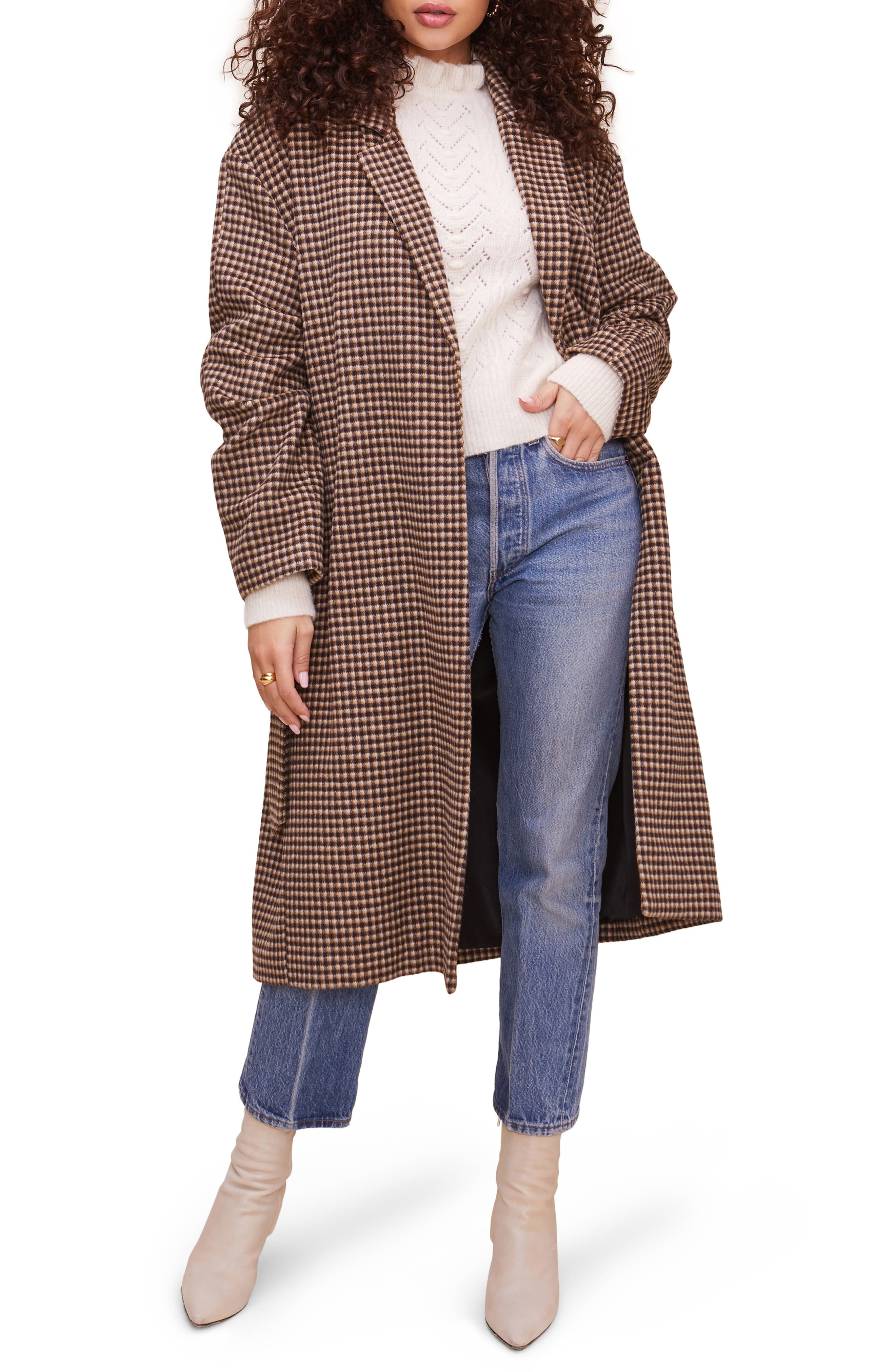 1940s Style Coats and Jackets for Sale Womens Astr The Label Roxanne Belted Coat Size Small - Brown $198.00 AT vintagedancer.com