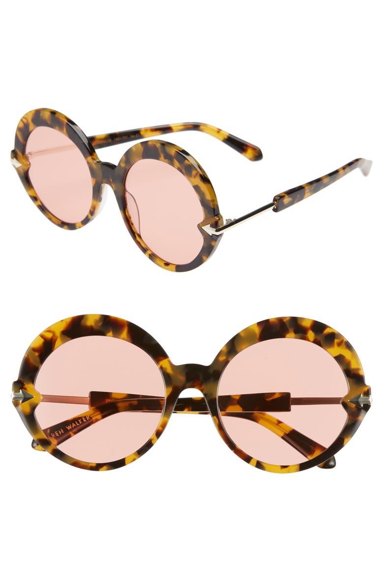 KAREN WALKER Romancer 56mm Round Sunglasses, Main, color, CRAZY TORTOISE