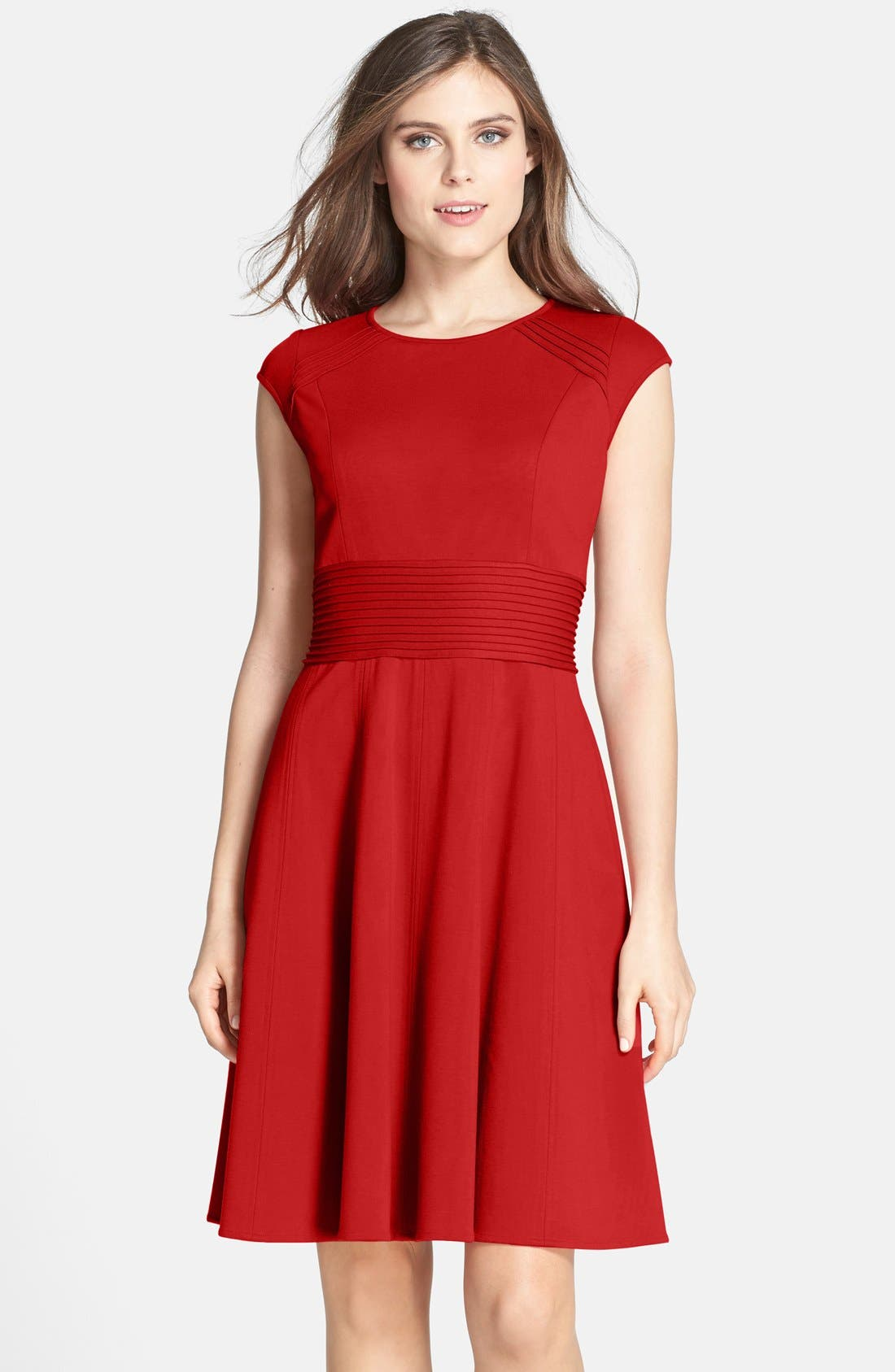 ,                             Pintucked Waist Seamed Ponte Knit Fit & Flare Dress,                             Main thumbnail 34, color,                             610