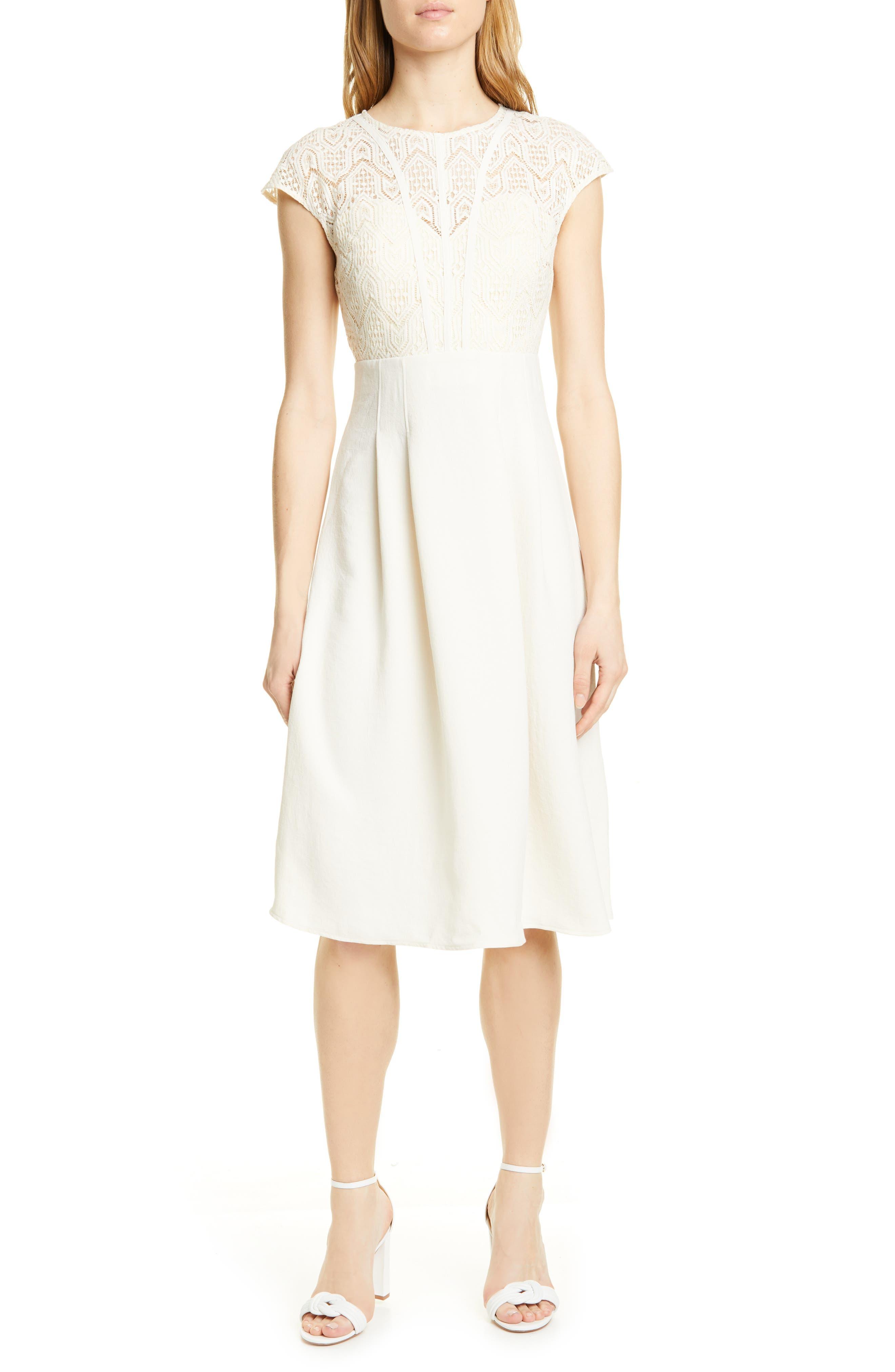 Ba & sh Prima Lace Detail Empire Waist Dress, Ivory