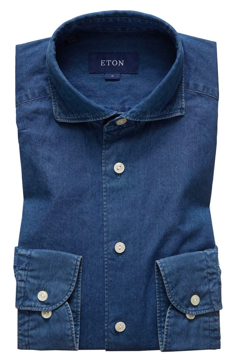 ETON Soft Collection Contemporary Fit Denim Dress Shirt, Main, color, BLUE