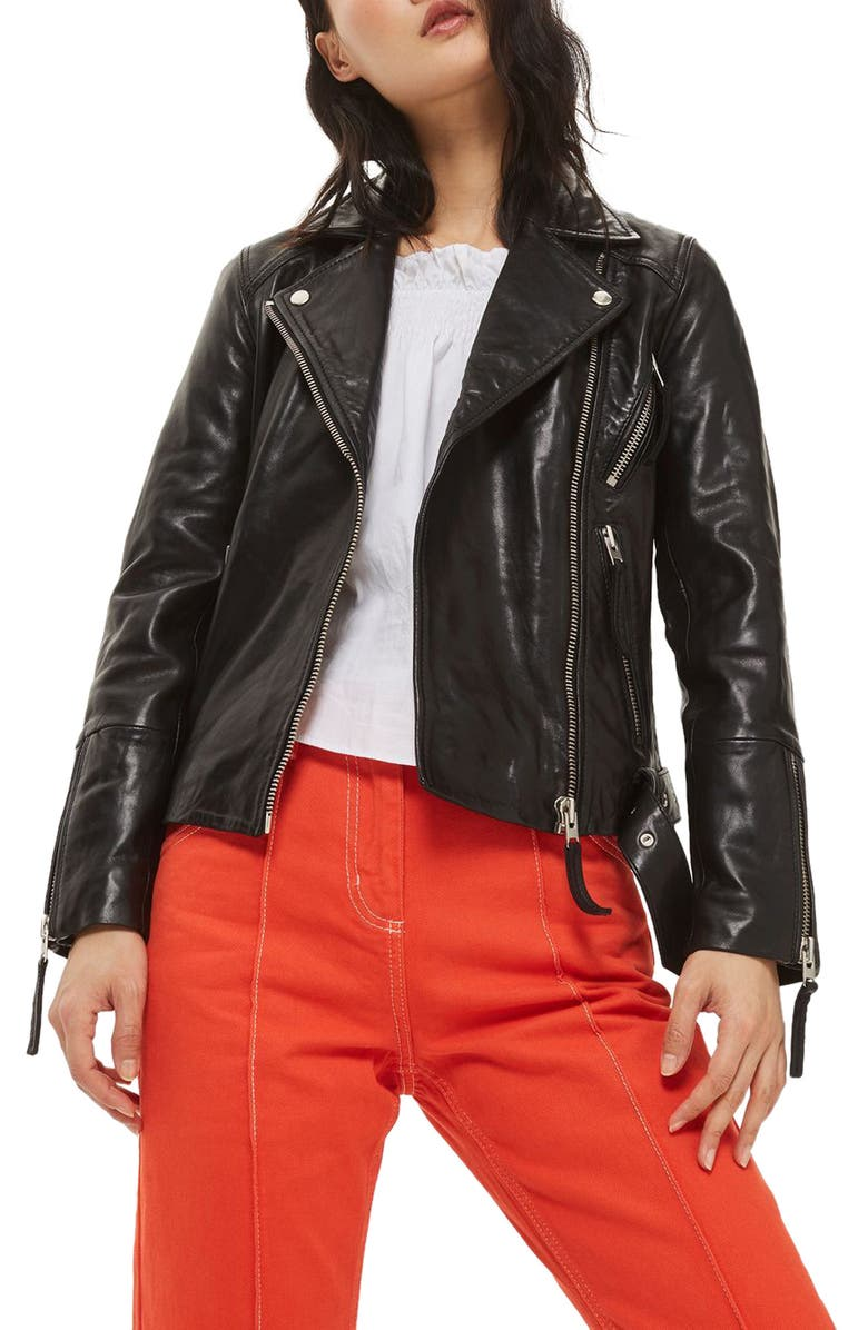 TOPSHOP Basil Belted Leather Biker Jacket, Main, color, 001