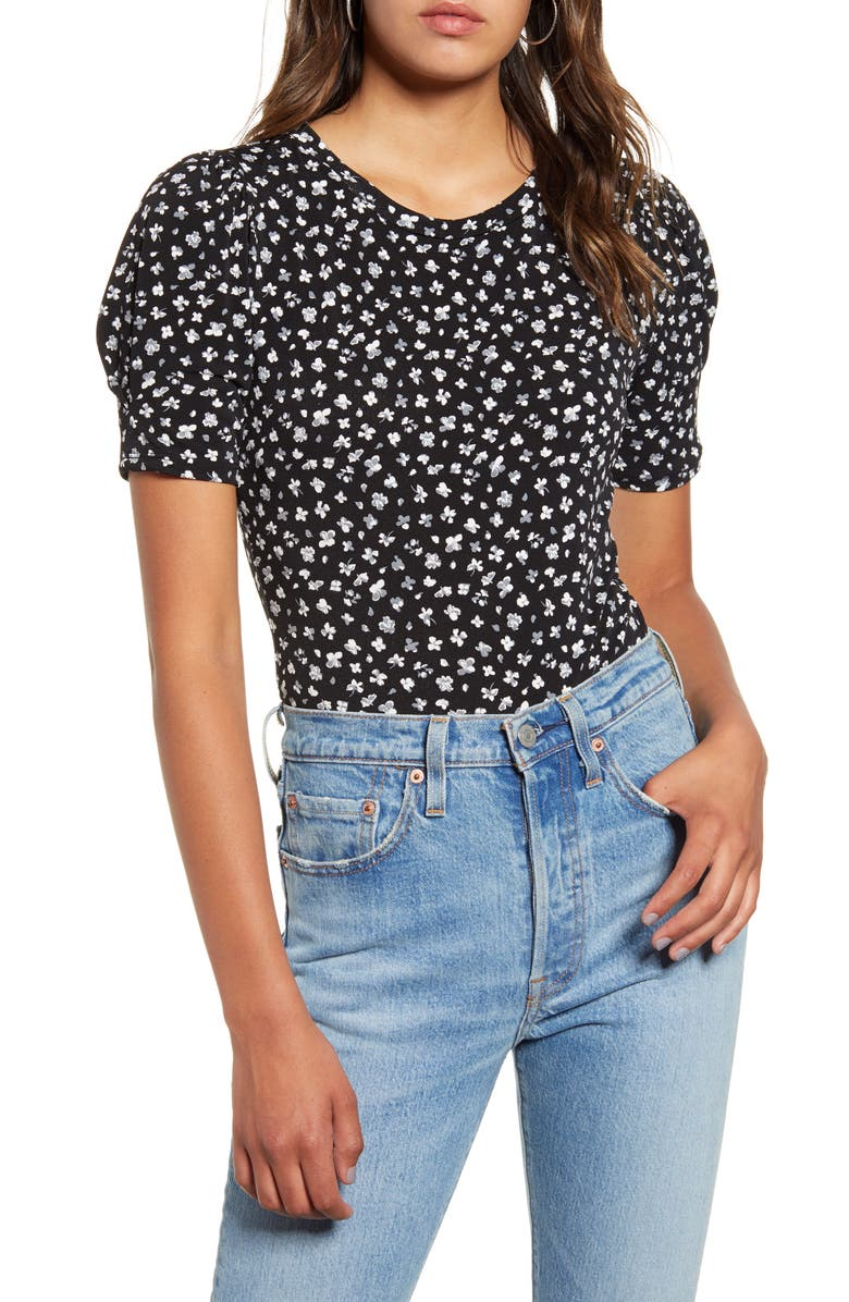 ALL IN FAVOR Floral Print Puff Sleeve Bodysuit, Main, color, BLACK FLORAL