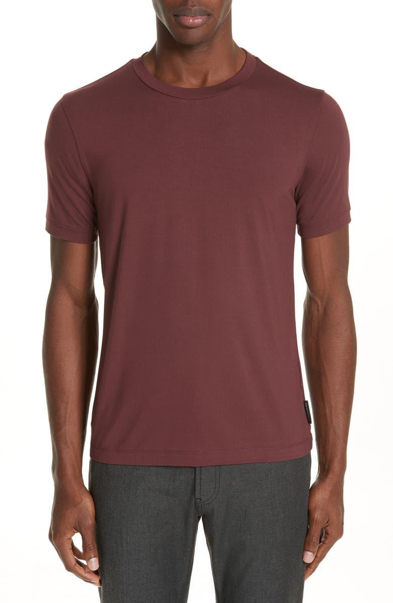 EMPORIO ARMANI Slim Fit Stretch Crewneck T-Shirt, Main, color, RED