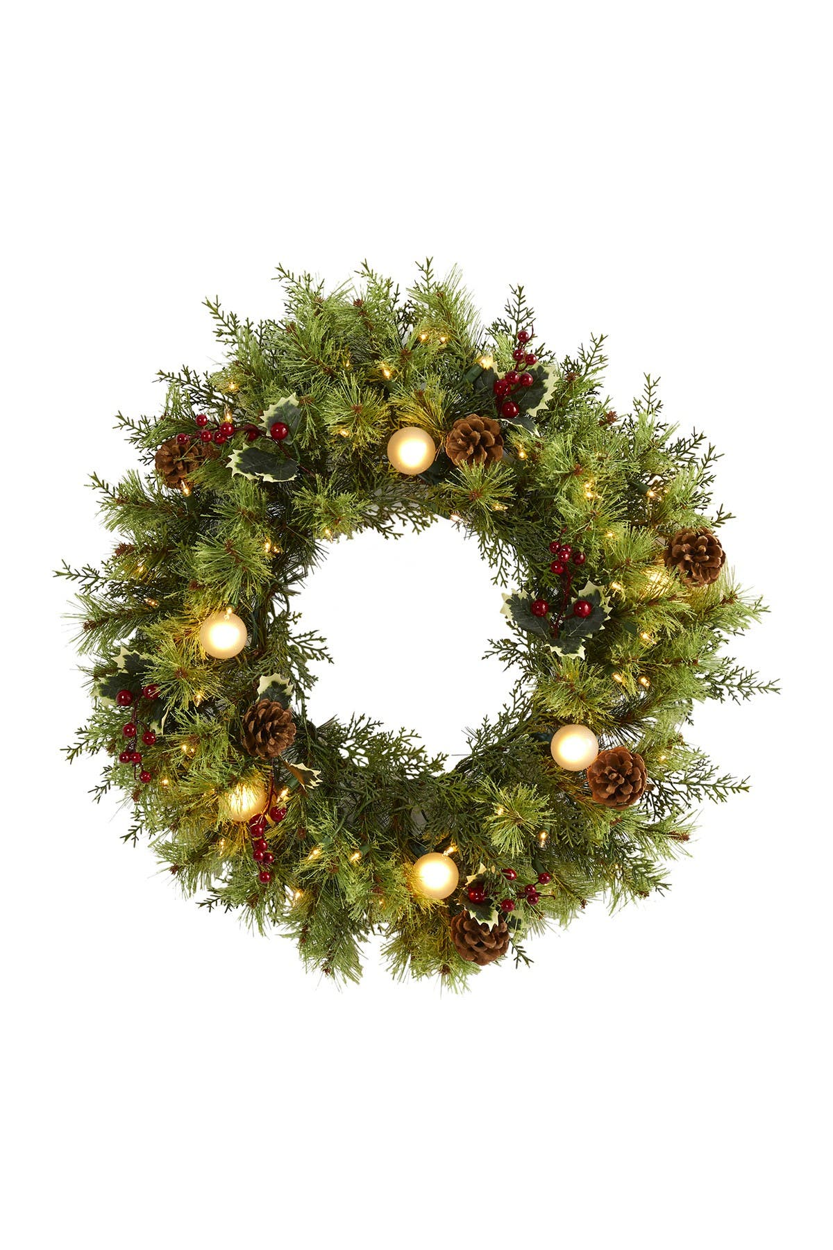 """Image of NEARLY NATURAL 24"""" Christmas Light-Up Artificial Wreath"""