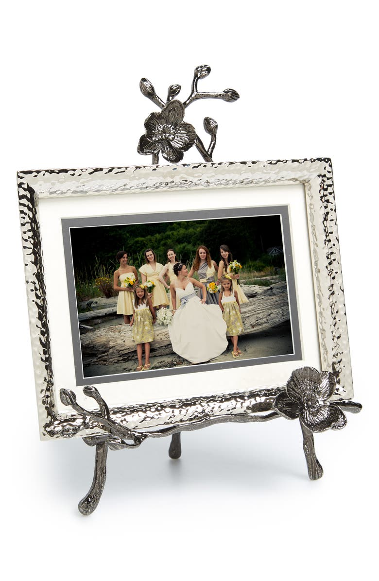 MICHAEL ARAM Black Orchid Convertible Easel Picture Frame, Main, color, NICKEL