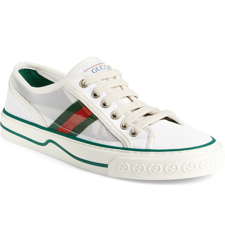 GUCCI Tennis 1977 V Low Top Sneaker, Main, color, WHITE/ GREEN