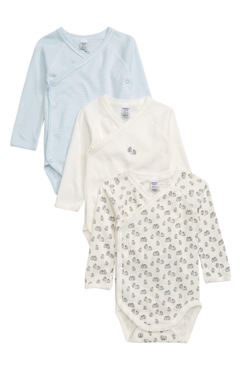 PETIT BATEAU 3-Pack Organic Cotton Wrap Bodysuits, Main, color, 400