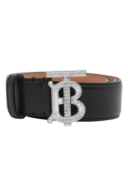 BURBERRY TB MONOGRAM BUCKLE PAVE CRYSTAL & LEATHER BELT