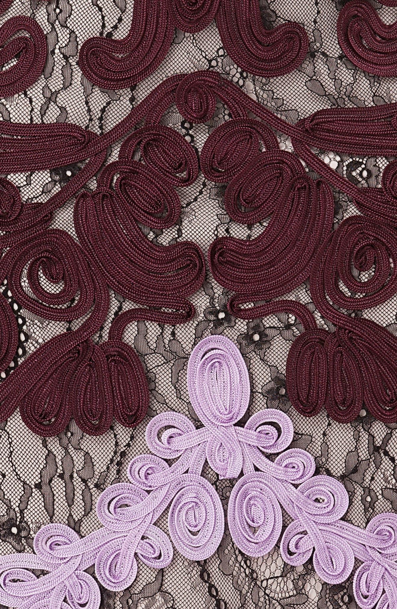 ,                             Soutache Lace Midi Dress,                             Alternate thumbnail 5, color,                             ORCHID/ CHIANTI
