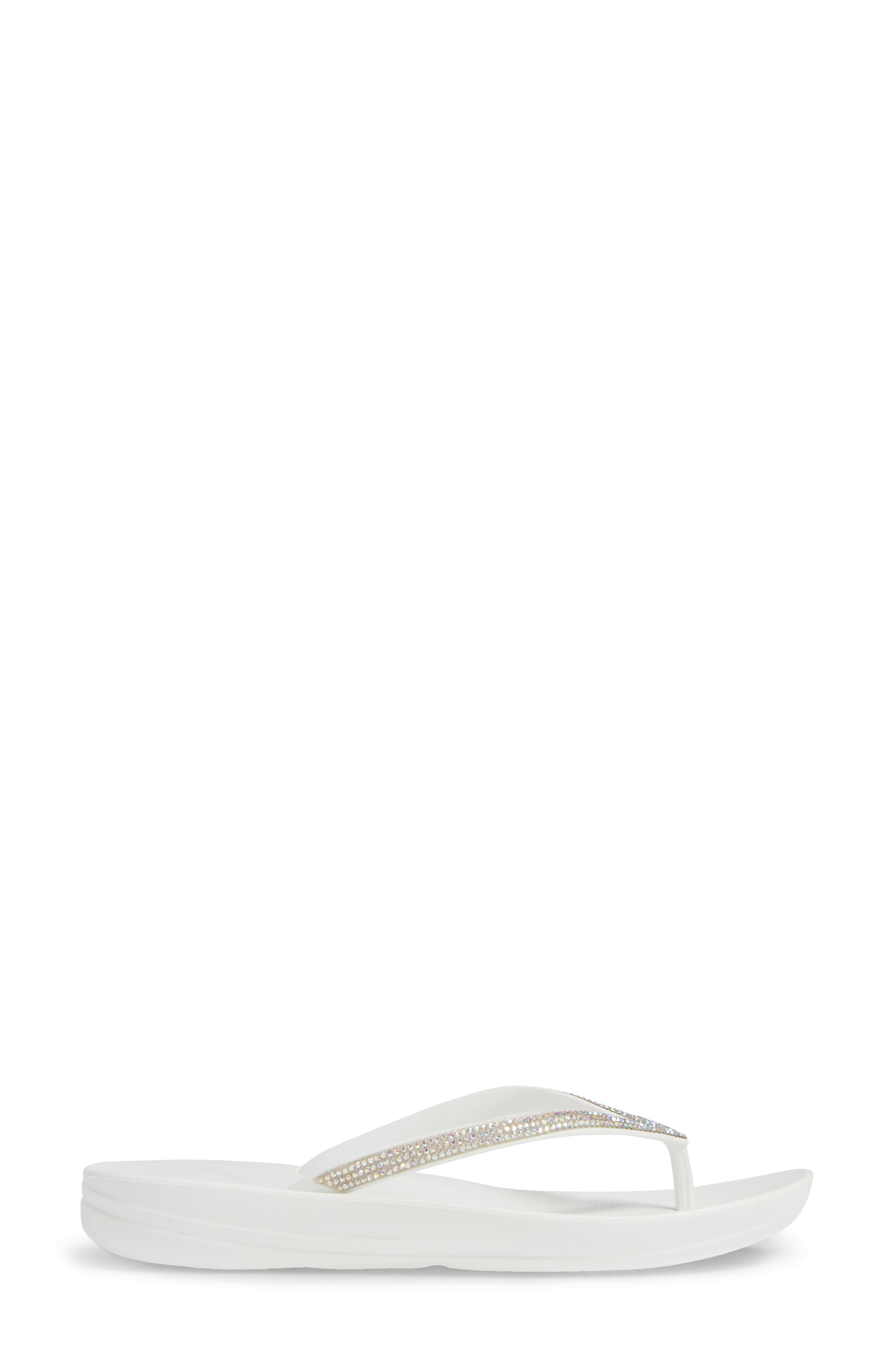 ,                             iQushion<sup>™</sup> Crystal Embellished Flip Flop,                             Alternate thumbnail 3, color,                             URBAN WHITE
