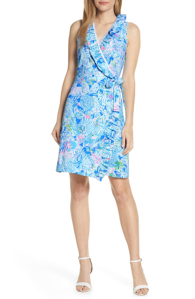 LILLY PULITZER<SUP>®</SUP> Romee Wrap Dress, Main, color, COASTAL BLUE LION AROUND