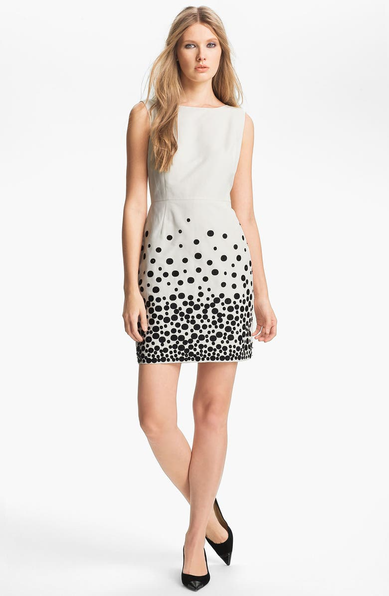 MISS WU Embroidered Faille Dress, Main, color, 900