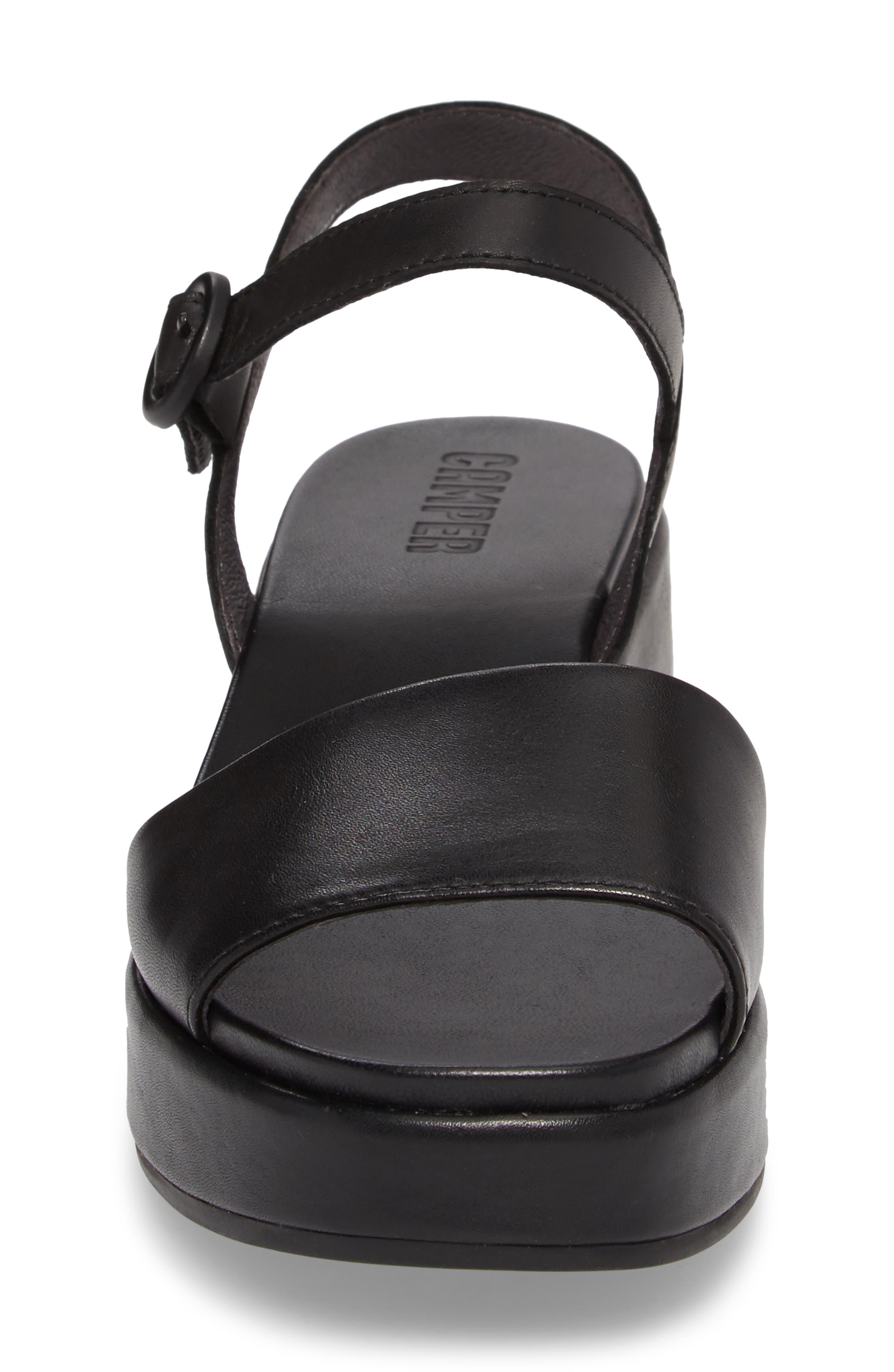 ,                             Misia Platform Wedge Sandal,                             Alternate thumbnail 4, color,                             BLACK LEATHER