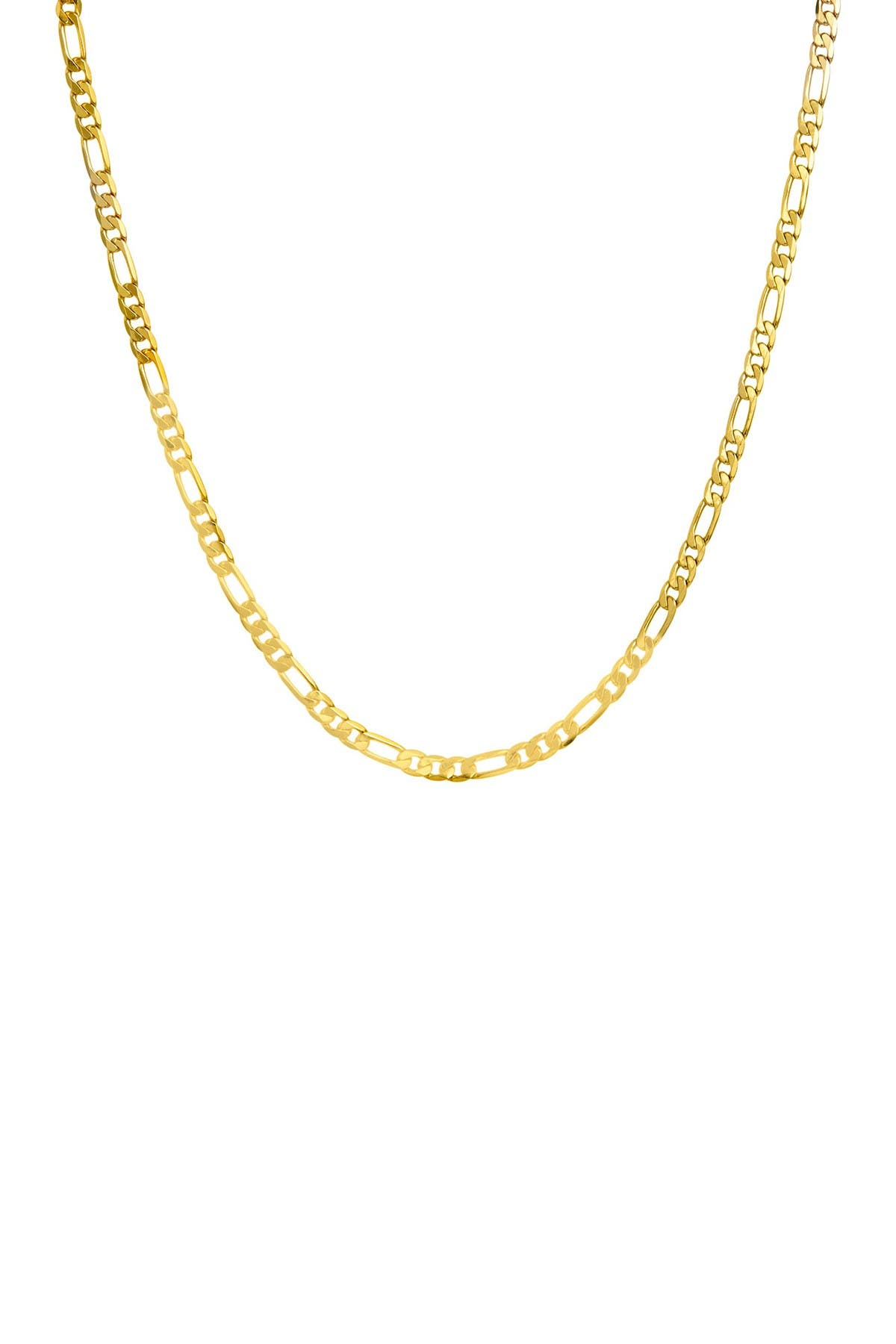 Image of Savvy Cie 18K Gold Bronze 3mm Figaro Chain Necklace