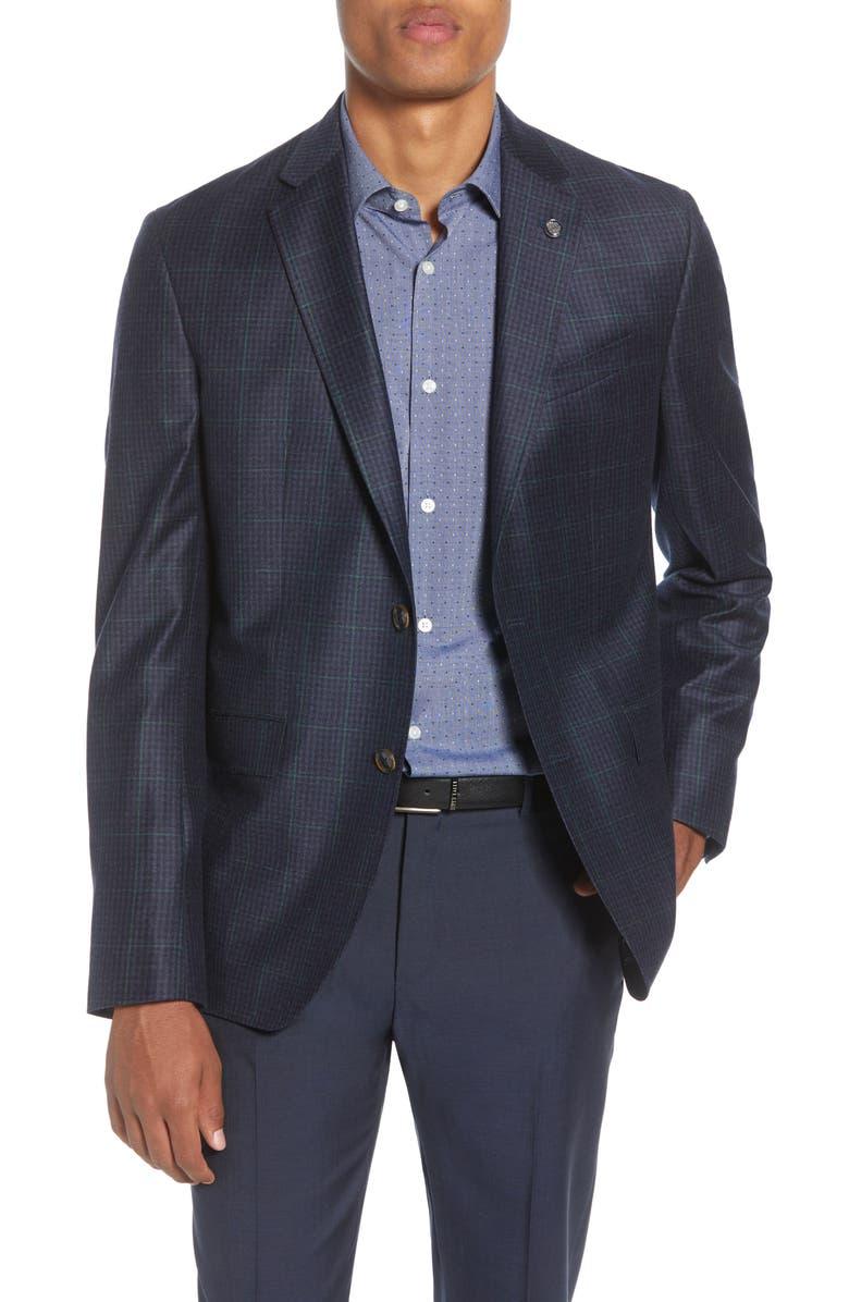 TED BAKER LONDON Konan Trim Fit Windowpane Wool Sport Coat, Main, color, NAVY