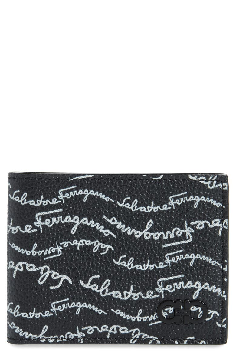 SALVATORE FERRAGAMO Signature Print Leather Wallet, Main, color, BLACK / WHITE