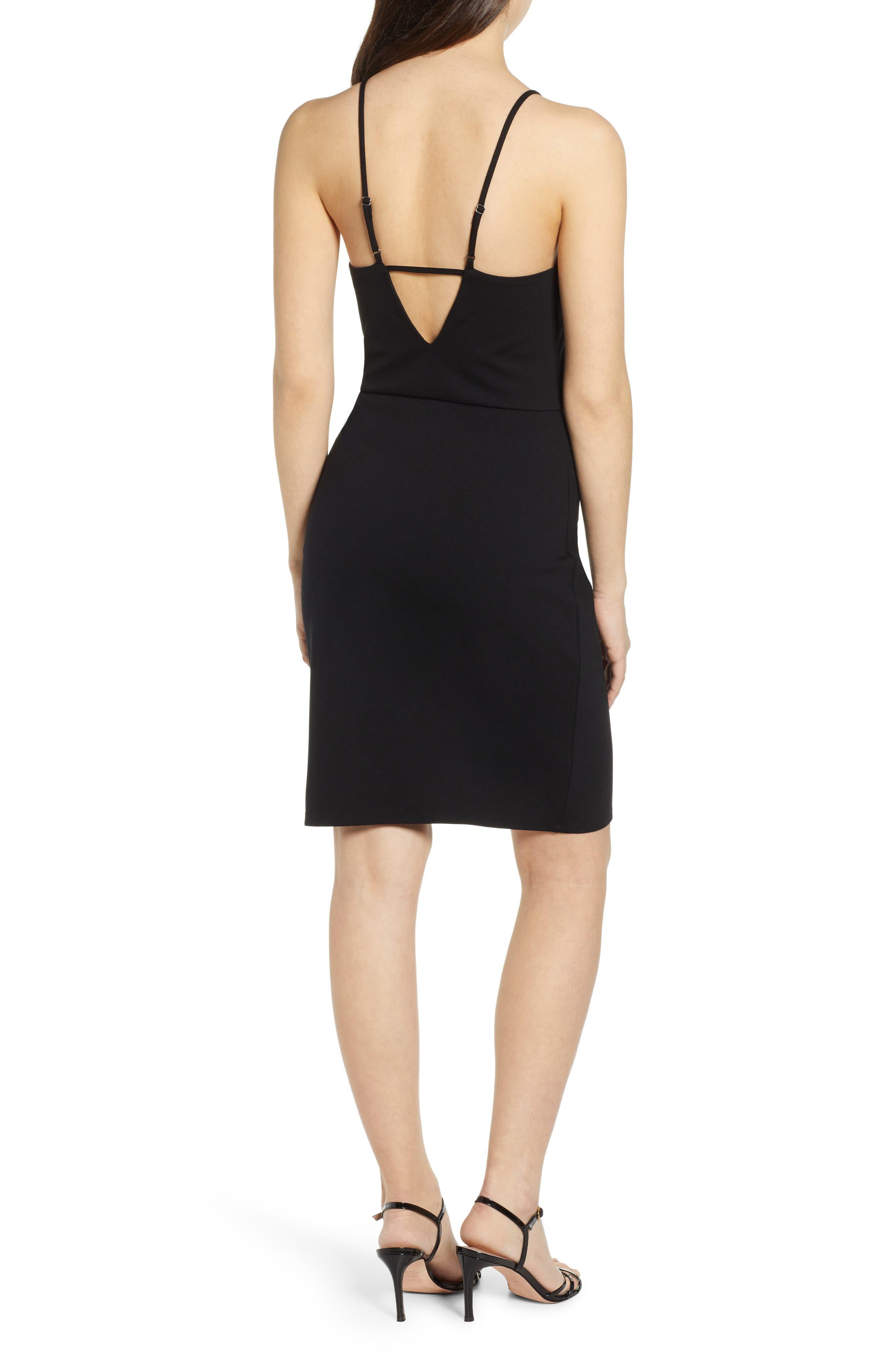 ,                             V-Neck Body-Con Dress,                             Alternate thumbnail 2, color,                             BLACK