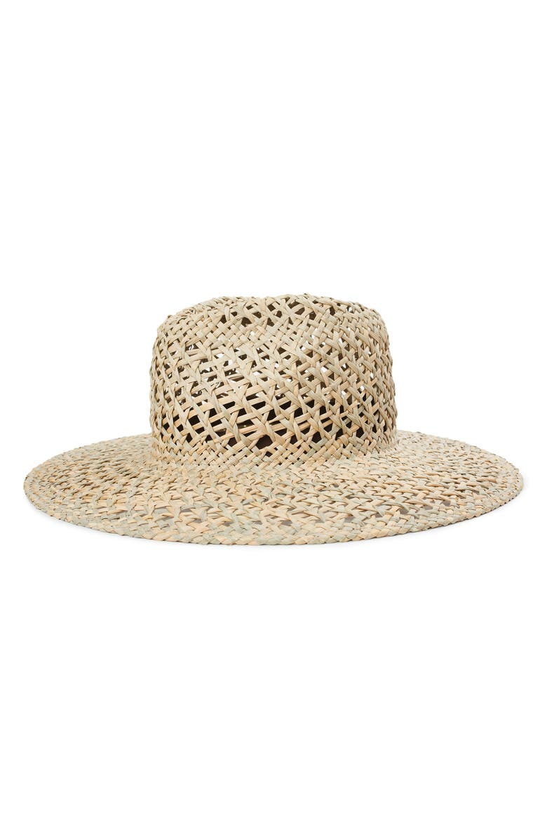 BRIXTON Joanna Open Weave Straw Hat, Main, color, TAN