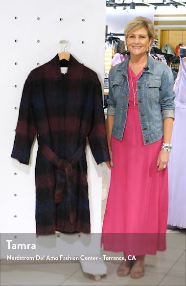 Brushed Plaid Wool Blend Long Coat, sales video thumbnail